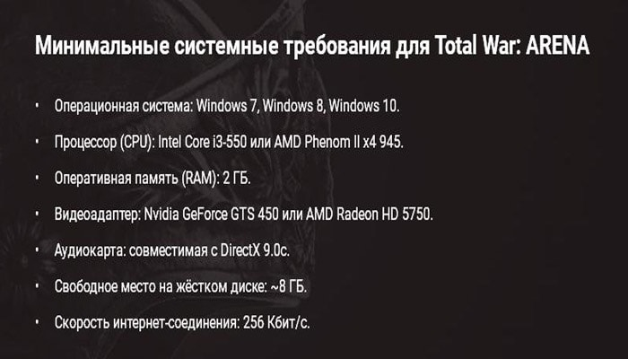 Total War Arena системные требования на PC